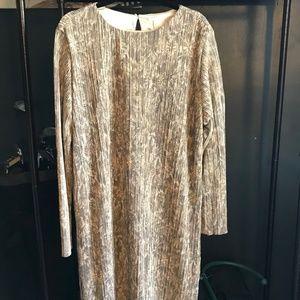 H&M Gold Floral Long sleeved dress XL